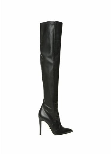Beymen Collection İnce Topuklu Deri Çizme Siyah